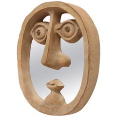 David Gil for Bennington Pottery Mirror in Shape of Face with Unglazed Ceramic