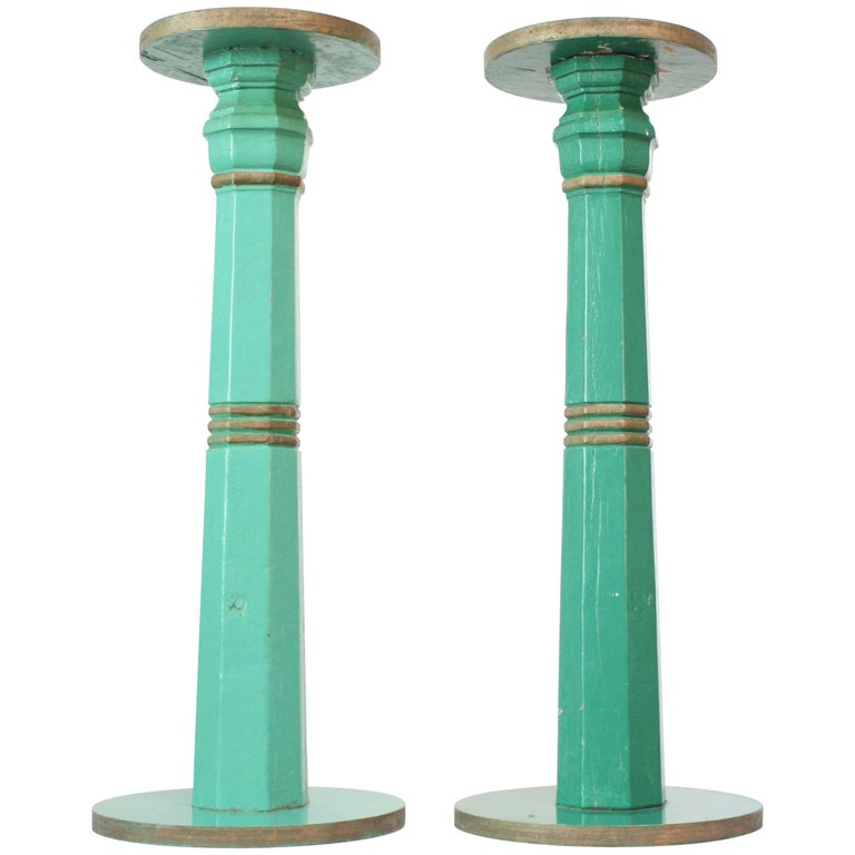 Pair of Mid-20th Century Primitive Pedestals in Mint Green
