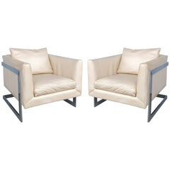 Midcentury Milo Baughman Cantilevered Chrome and Ivory Leather Club Chairs, Pair