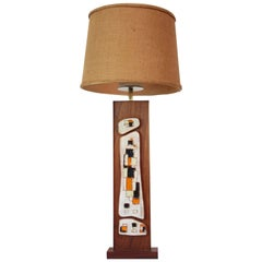 Harris Strong Walnut, Brass and Ceramic Tile Table Lamp