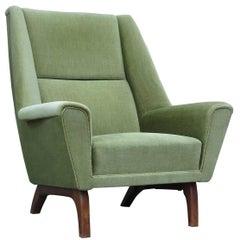 1960s Danish Green Mohair Lounge Chair