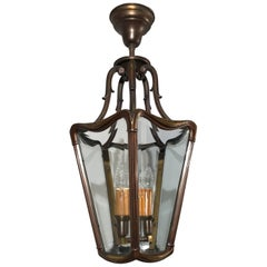 Early 20th Century Bronze & Beveled Glass Stylish Design Lantern Pendant Light