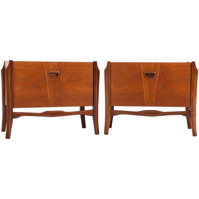 Pair of Teak Dutch Mid-Century Modern Bedside Tables or Nightstands, 1960s