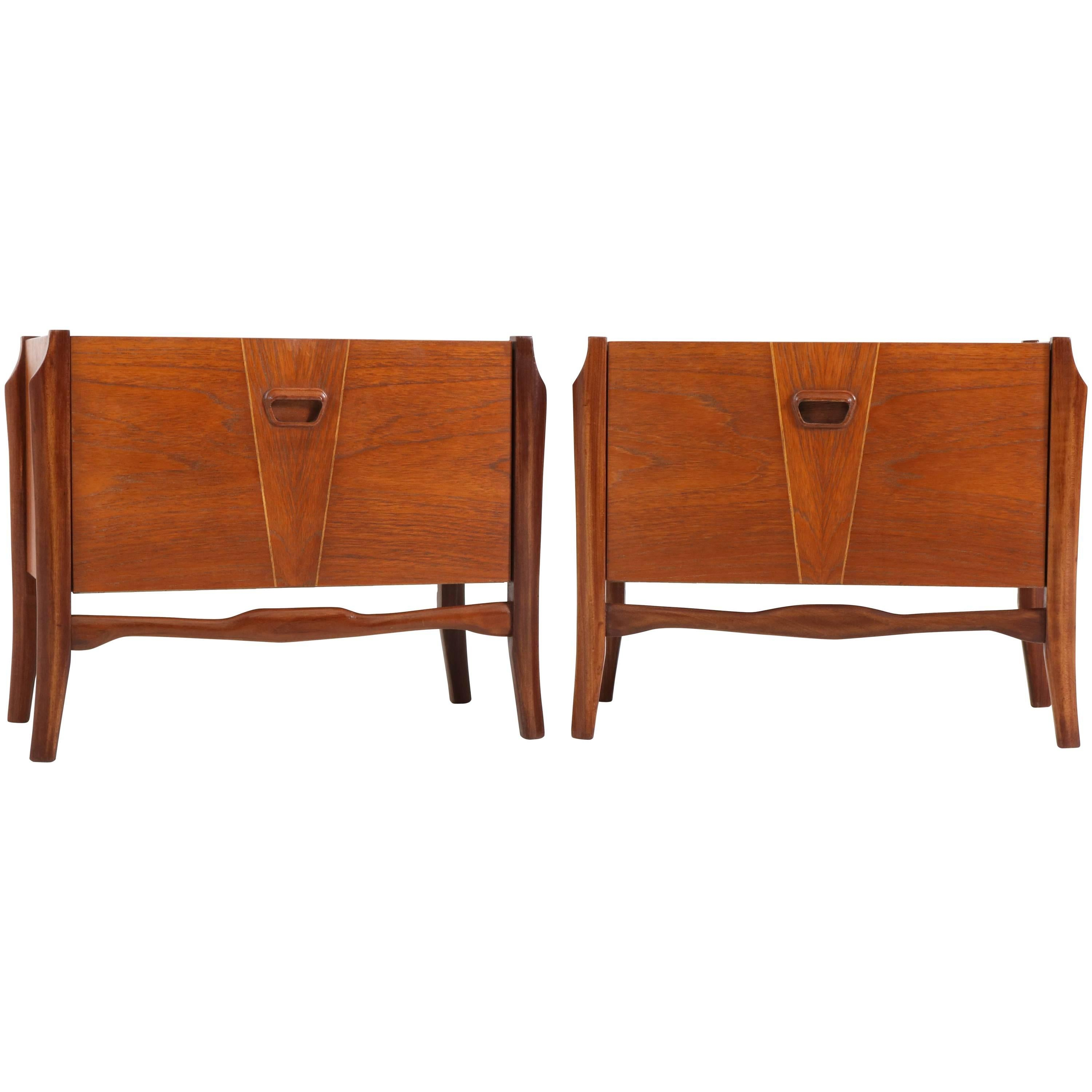 Pair Of Teak Dutch Mid Century Modern Bedside Tables Or Nightstands, 1960s  For Sale