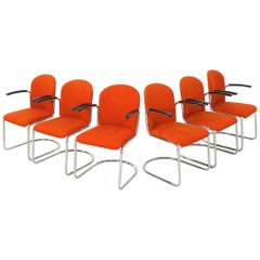 Set of Six Orange Cantilever Chairs from WH Gispen Model 413 R, Dutch Originals