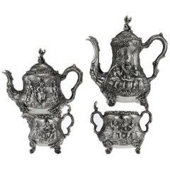 Antique Victorian Solid Silver Teniers Tea & Coffee Set, D & C Houle, circa 1869