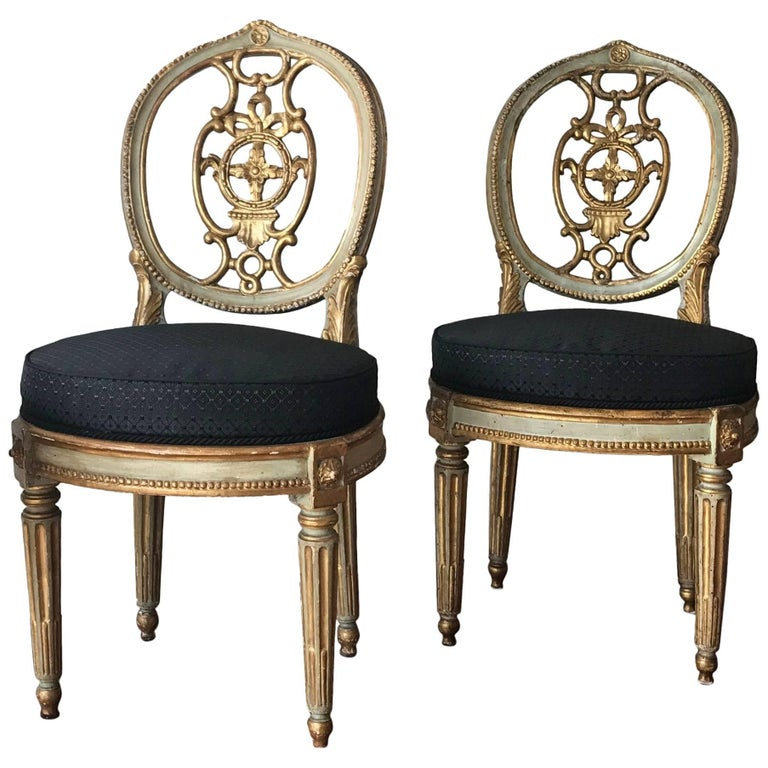 Fine Set of Eight Italian Painted and Parcel-Gilt Chairs, Tuscany 18th Century