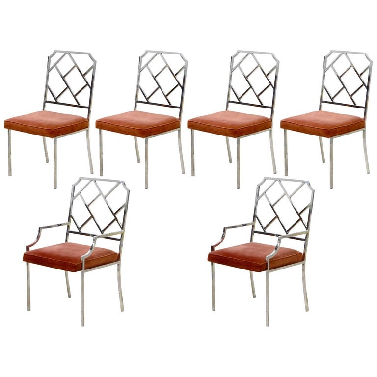 Set of Six Milo Baughman Chrome Chippendale Inspired Modern Dining Chairs