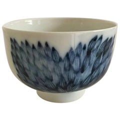 Royal Copenhagen Bowl White with Blue Motif Unique by Snorre Stephensena
