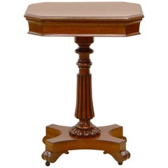 English Mid-19th Century William IV Mahogany Pedestal Table with Frieze Drawer