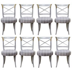 Set of Eight French Louis XVI Style Grey Paint and Gilt Upholstered Side Chairs