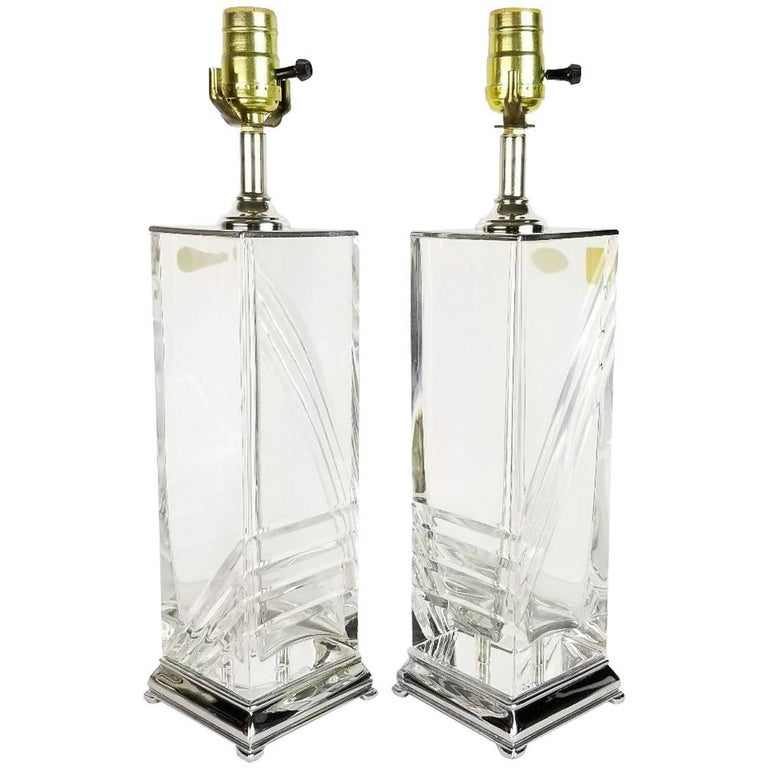 Pair of Italian Hollywood Regency Cut Crystal and Chrome Table Lamps