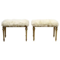 Pair of Chic Hollywood Regency Louis XVI Style Faux Fur Covered Benches