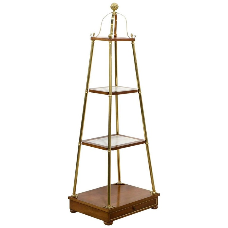 Unique Midcentury Obelisk Shape Brass, Mahogany and Marble Display Etagere
