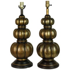 Pair of Midcentury Bronze Patina Gourd Lamps