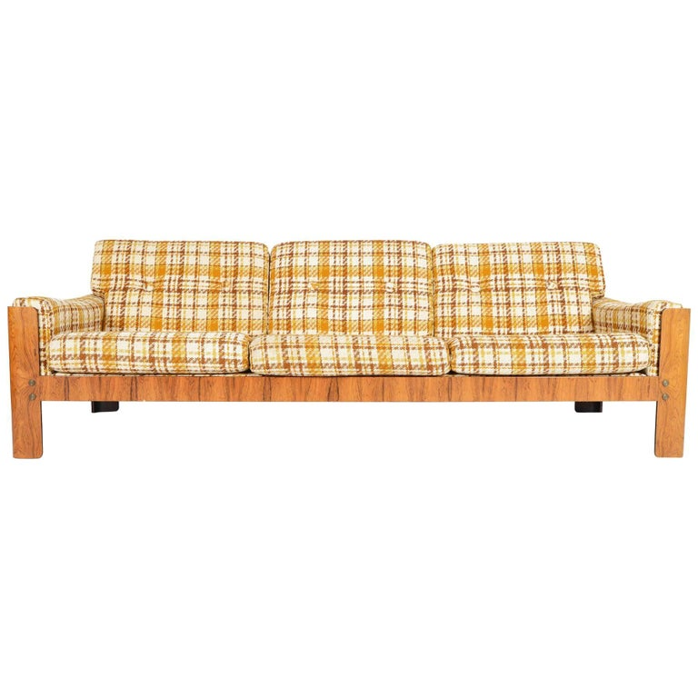 Danish Modern Three-Seat Midcentury Sofa in Bent Ply and Rosewood