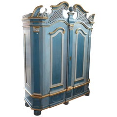 Sculpted Wood Buffet with Blue and Gilt Patina, German or Austrian Work