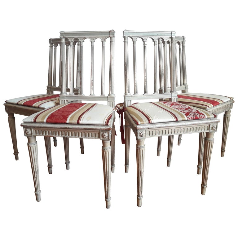 Louis XVI Style Dining Chairs, Set of Four For Sale