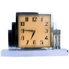 Large and Impressive 1930s Art Deco Nickel-Plated Mantle Clock