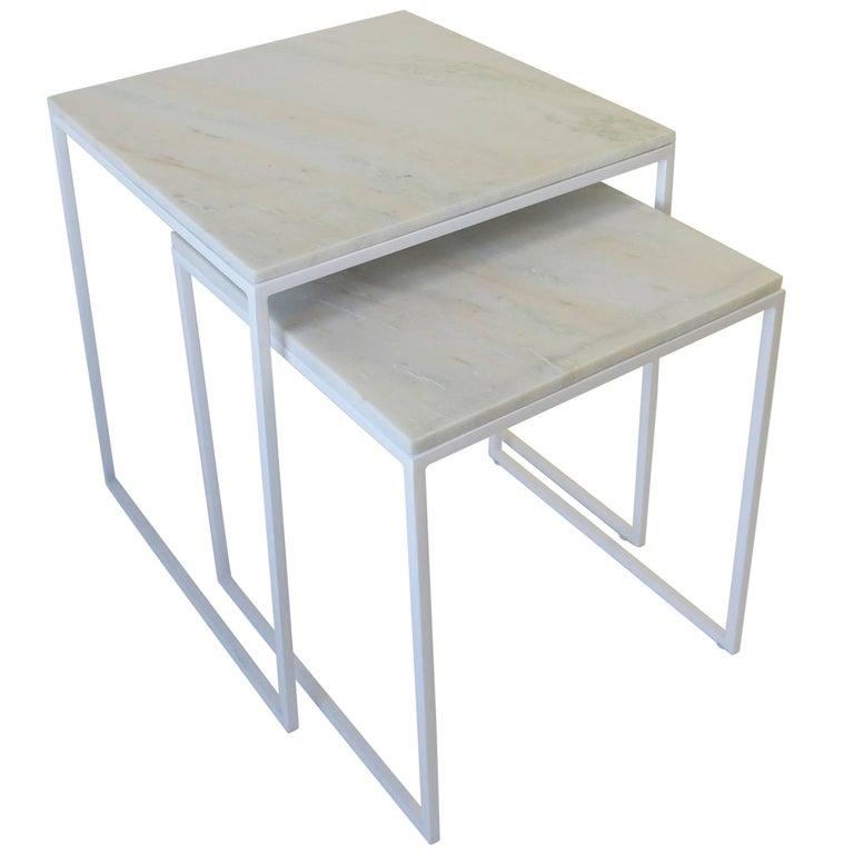 Set of White Granite Marble Nesting Tables