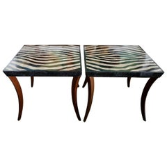 Pair of Inlaid Marble Tables Likely Maitland-Smith