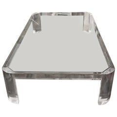 Large Lucite and Glass Coffee Table Likely by Steve Chase
