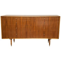 1960s Italian Brass Inlaid Walnut Dresser by Erno Fabry