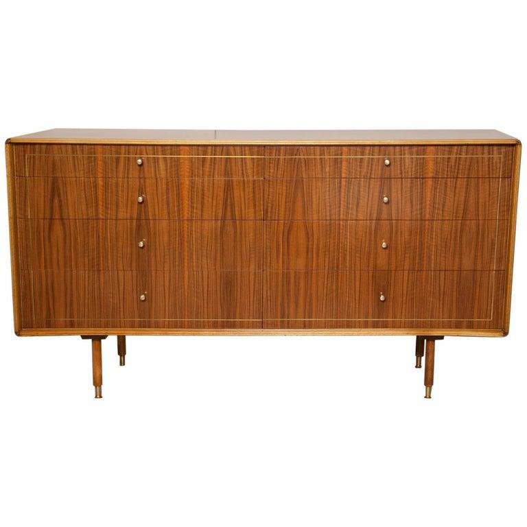 1960s Italian Brass Inlaid Walnut Dresser by Erno Fabry For Sale