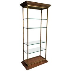 Vintage Midcentury Custom Oak Gilt Steel Metal Shelf Etagere Display Case