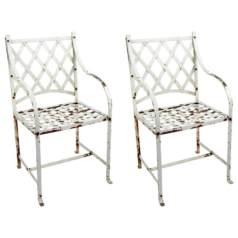 Pair of Garden Chairs after Woodard For Sale