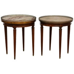 Pair of Louis XVI Style Marble Gueridon Drink Tables