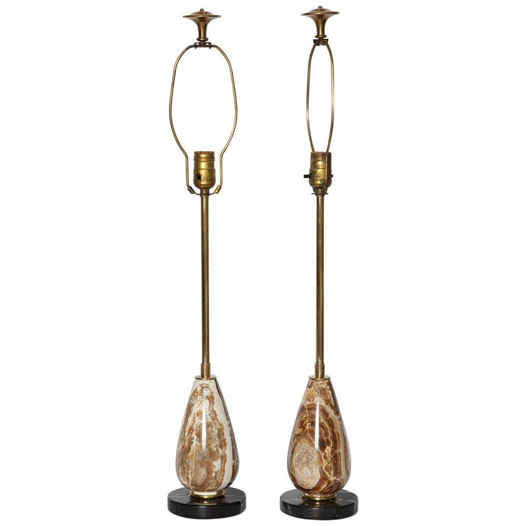 Pair of Diminutive Onyx Table Lamps, circa 1950 For Sale