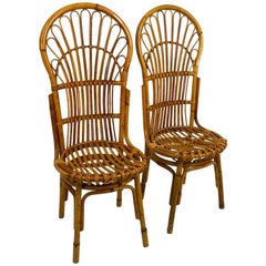 Pair of Exaggerated Form High Back Bamboo Chairs after Albini