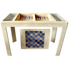 Vintage Suede Backgammon Table