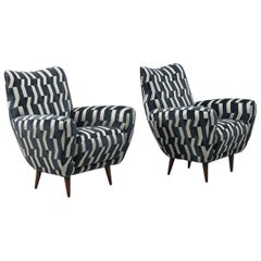 Pair of Italian Armchairs in Zoffany Ozia Textile