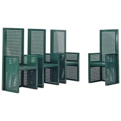 Set of Six Green Perforated Metal Chairs
