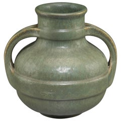 Fulper Arts & Crafts Hammered Green Split Strapped Handled Vase, 1900