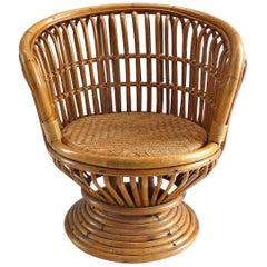 Mid-Century Modern Franco Albini Rattan Swivel Chair