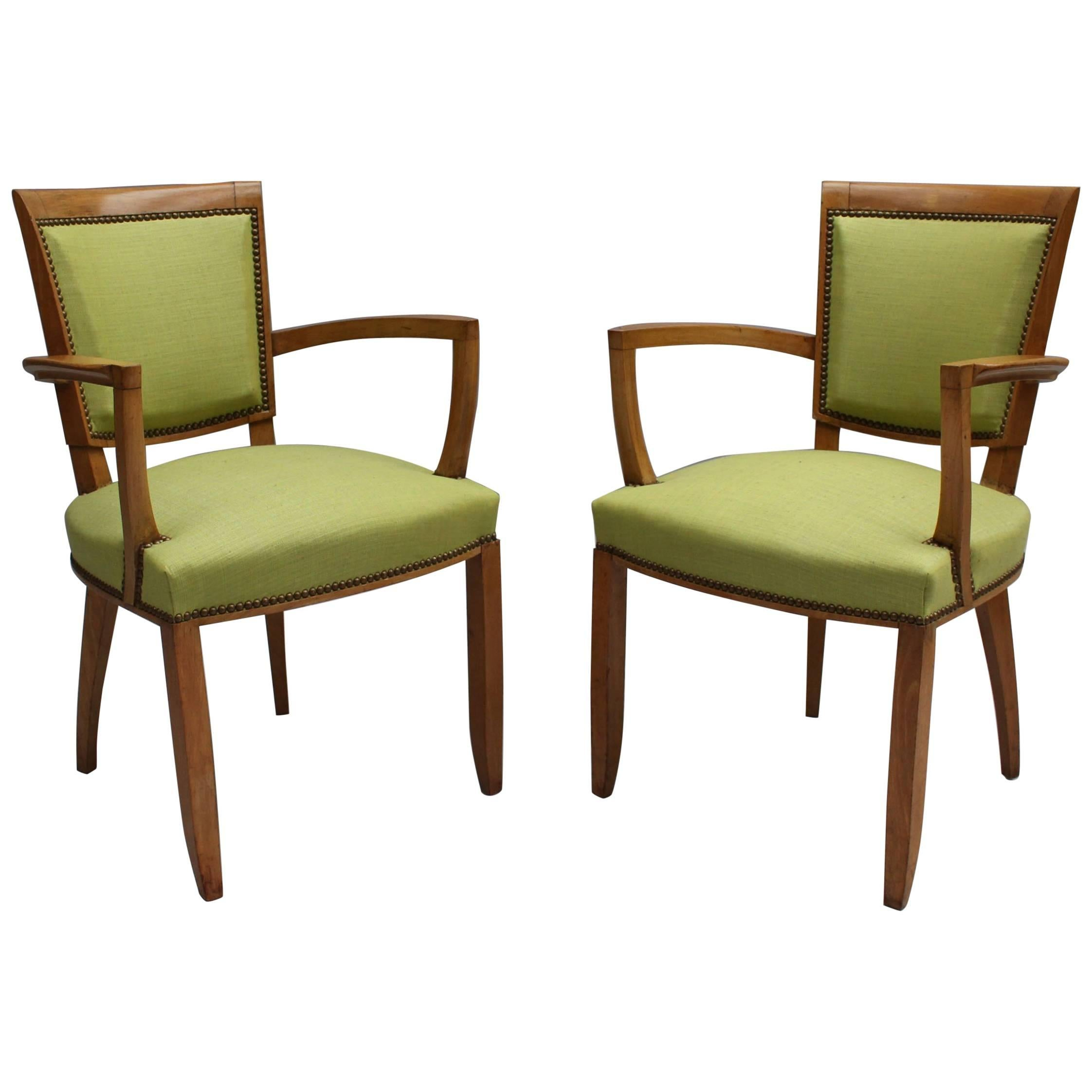 Pair of Fine French Art Deco Armchairs by Jules Leleu
