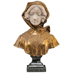 Affortunato Gory Italian Bronze and Marble Bust of a Woman