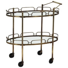 Signed Maxwell-Phillips Patinated Brass Bar Cart
