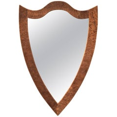 Shield Form Mirror of Hand Wrapped Leather