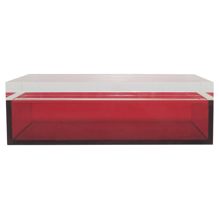 Postmodern Italian Lucite Red Designer Jewelry Box by Albrizzi