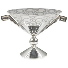 Tall Art Deco Silver Plate and Etched Glass Chalice Centerpiece Bowl
