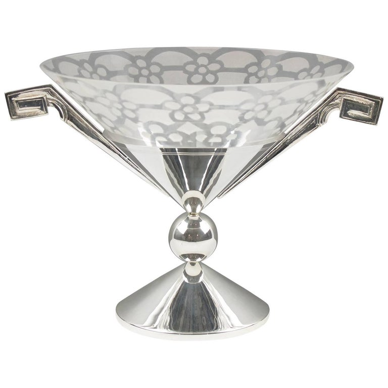 Tall Art Deco Silver Plate and Etched Glass Chalice Centerpiece Bowl For Sale