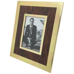 Modernist Aluminum and Wood Picture Photo Frame by Italian Designer MB