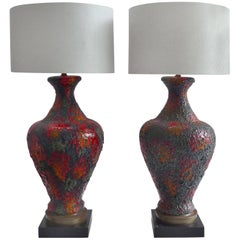 1960s Pair of Italian Lava Glazed Ceramic Table Lamps