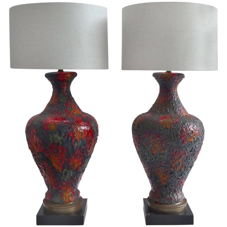 1960s Pair of Italian Lava Glazed Ceramic Table Lamps