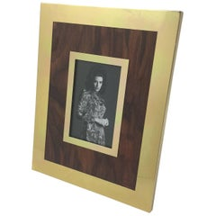 Mid-Century Modern Aluminum and Wood Picture Photo Frame by Italian Designer MB