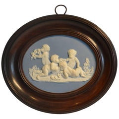Framed Jasper Medallion, Bacchanalian Boys, Wedgwood & Bentley, circa 1778